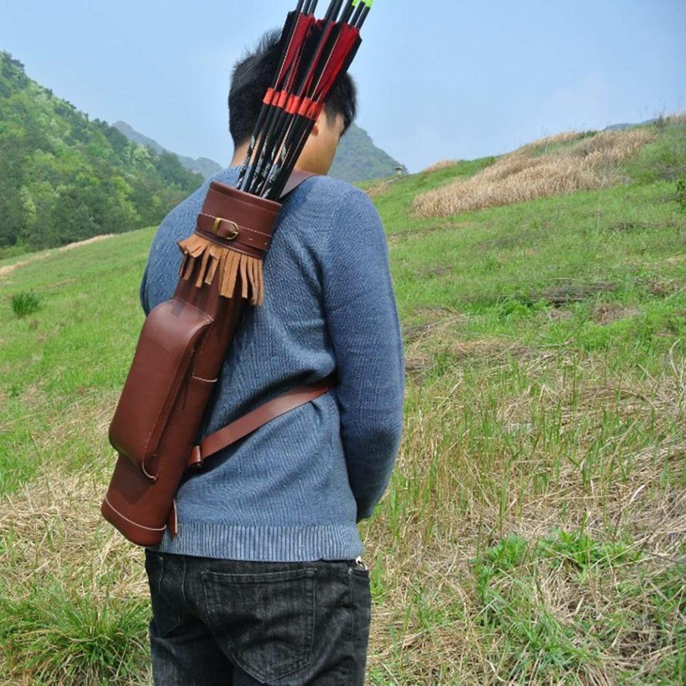 Высокое качество 53*12 см чистая кожа коровы Колчан с коричневый Цвет стрелка мешок для лук стрелка Стрельба Охота стрельба из лука