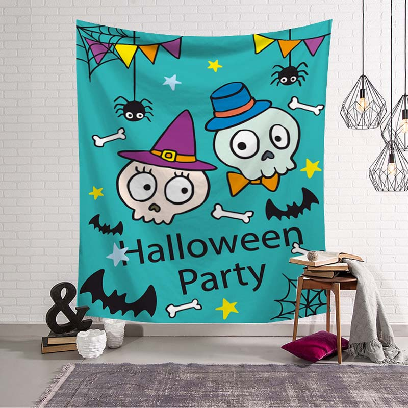 Trick Treat Halloween Costume Party Hanging Wall Decoration Festival Skull Spider Print Psychedelic Wall Hanging Door Ornament