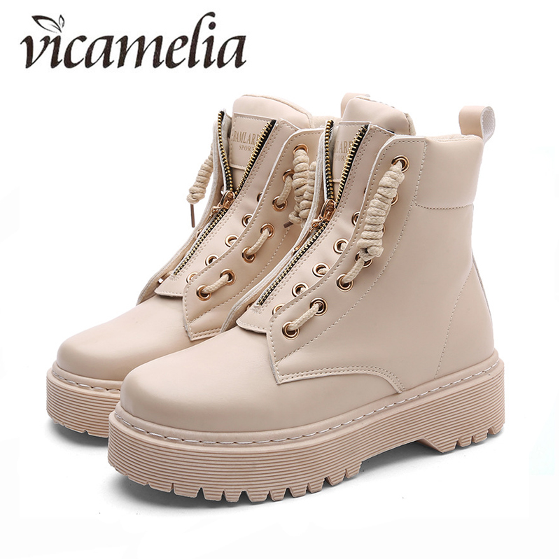 7ee58c2462c Vicamelia PU Leather Women Boots Winter Ankle Boots Comfort Platform Women  Shoes Zip Gothic Style Motorcycle