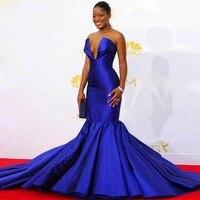 Королевское синее атласное с юбкой русалкой v образным вырезом африканские платья для выпускного вечера для девочек 2019 Платья знаменитосте