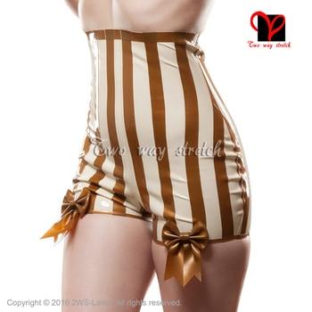 Сексуальные латексные трусы с бантиками, белые с золотыми полосками, нижнее белье, шорты, сексуальные стринги с высокой посадкой, резиновые