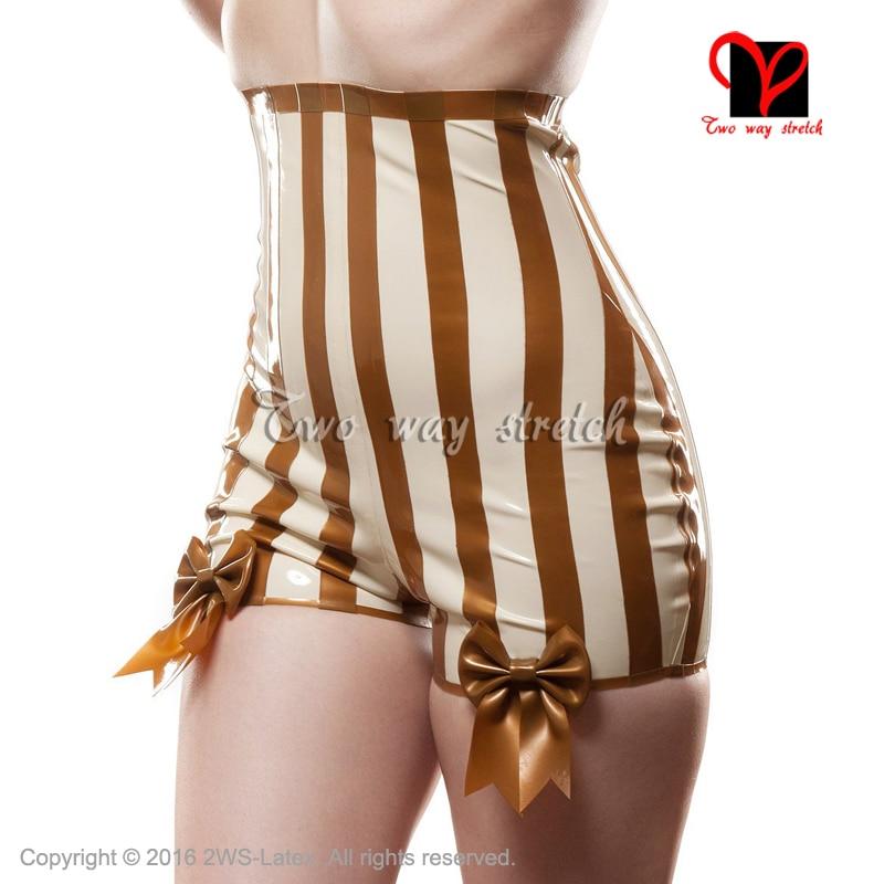 Сексуальные латексные шортики с бантами белого цвета с золотым нижнее белье с отделкой шорты сексуальные с высокой посадкой трусы стринги резиновые трусы KZ 125
