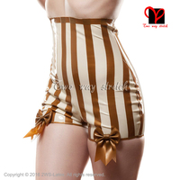 Sexy Latex Briefs With Bows White with gold trims Underwear shorts Sexy high rise undies thong Rubber Underpants KZ 125