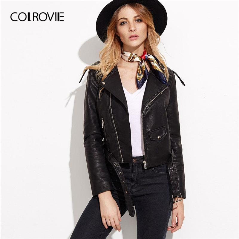COLROVIE Black Faux Leather Biker Jacket With Buckle Belt Women Coats 2019 Spring Streetwear Long Sleeve