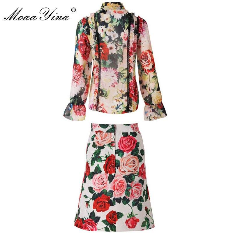 MoaaYina Fashion Designer Set Zomer Vrouwen Lange mouw Rose Bloemen Print Kant Ruches Elegante Top + Korte rok Twee stuk pak-in Sets voor dames van Dames Kleding op  Groep 2