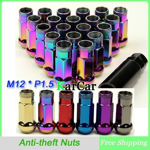 M12 x 1.5 43.5mm Extended Open End Car Wheel Lug Nuts, Universal Anti-theft Security Nut Alloy Steel Titanium Colorful Purple