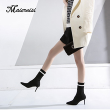 цены MAIERNISI Women Winter Sock Boots New Sexy Party High heel shoes Toe Elastic Plush Warm Black Shoes Short Mid-Calf Booties lady