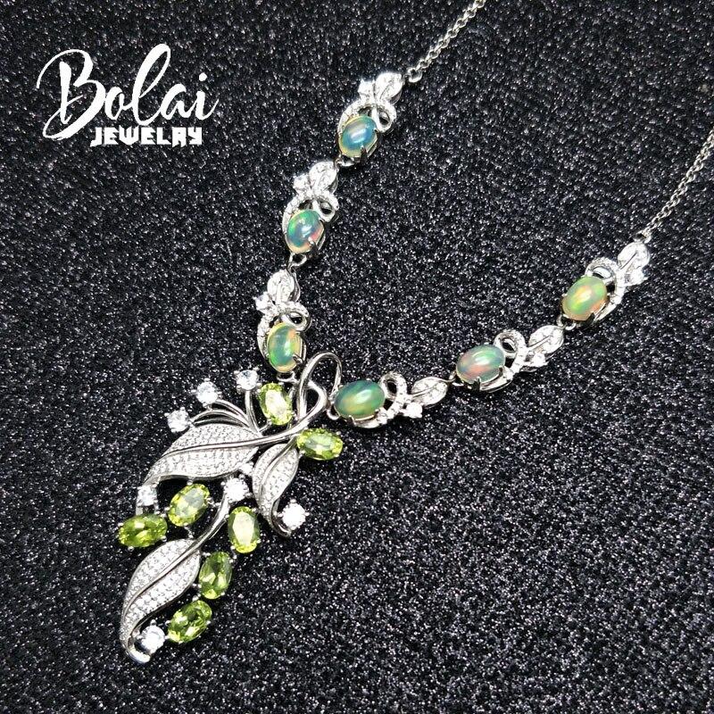 Bolaibijoux, collier de fête de luxe naturel bon feu ethiopie opale et péridot vert 925 argent sterling argent bijoux fins - 5