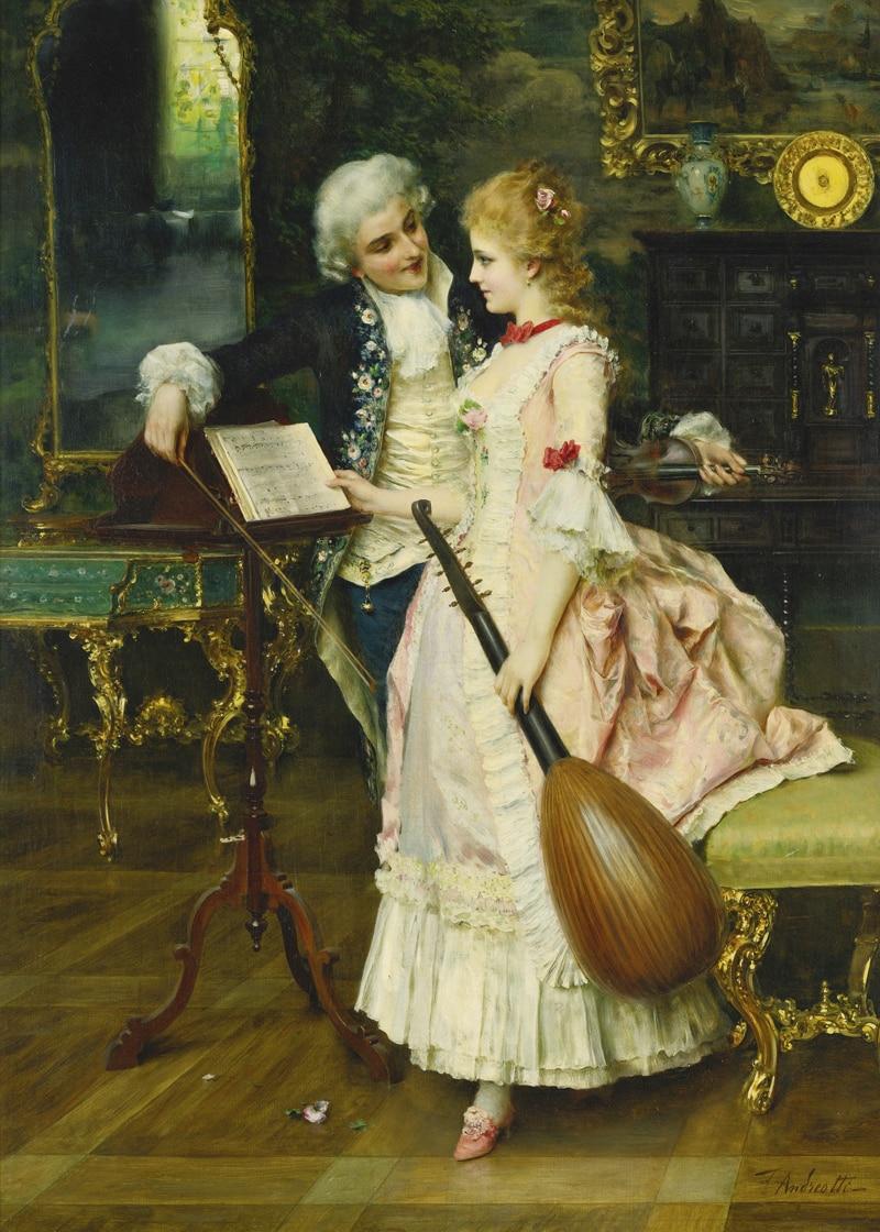 Classical figurative painting canvas portrait art poster picture court painting lady musician modern decorative art