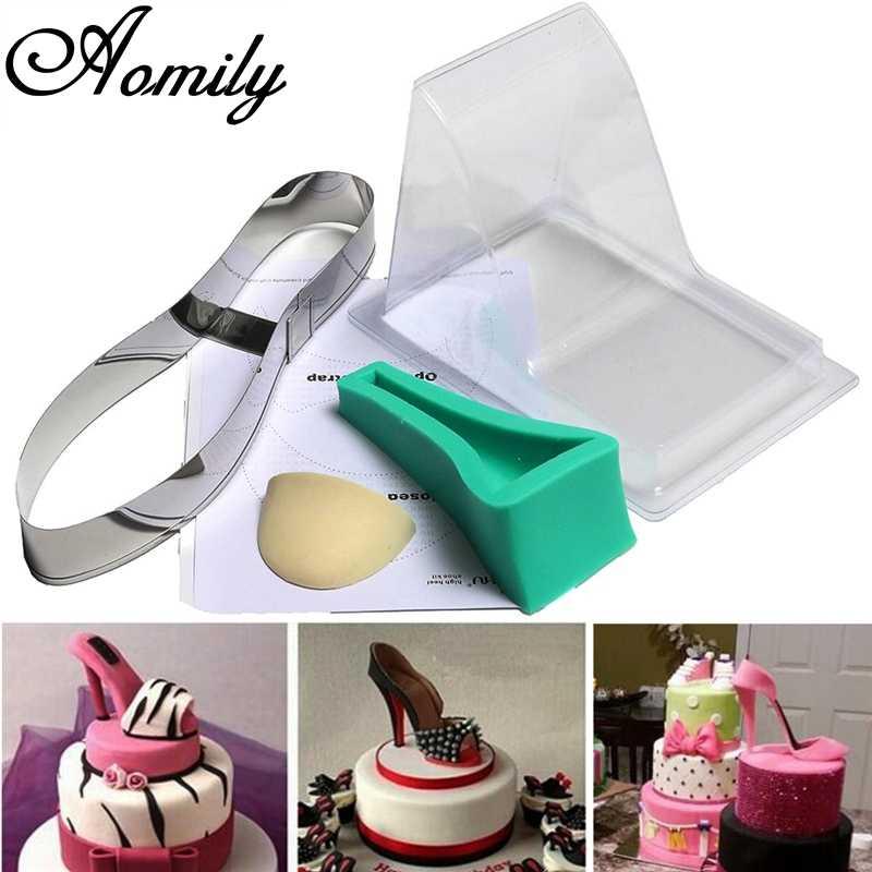 Aomily Large Size Fondant Cake 3D Silicone Stilleto High Heel Mould Lady Shoe Mold For Wedding Cake Decoration for DIY Bakeware