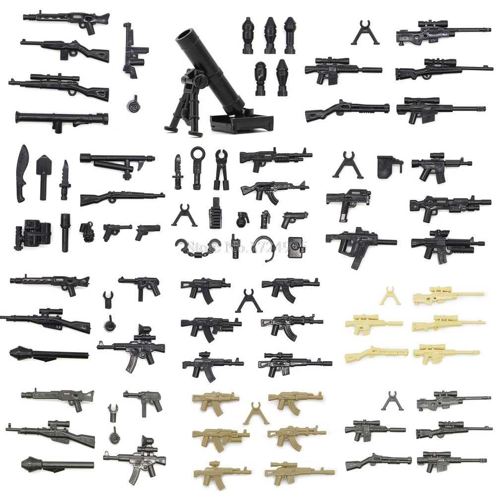 Legoinglys سلاح صندوق حزمة مجموعة الشكل العسكرية أجزاء بندقية MOC الملحقات SWAT نموذج اللبنات الطوب مجموعات اللعب