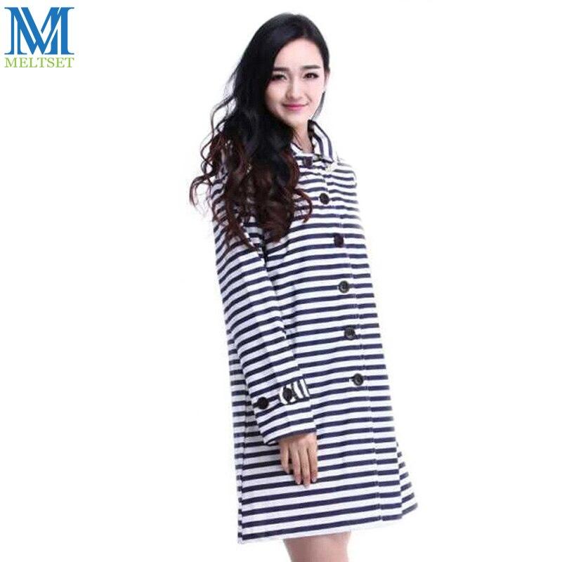 dc882a145 Meltset الأزياء الشريط المرأة المعطف مع غطاء المطر واقية الحدود البحرية نمط  عارضة النساء سترة