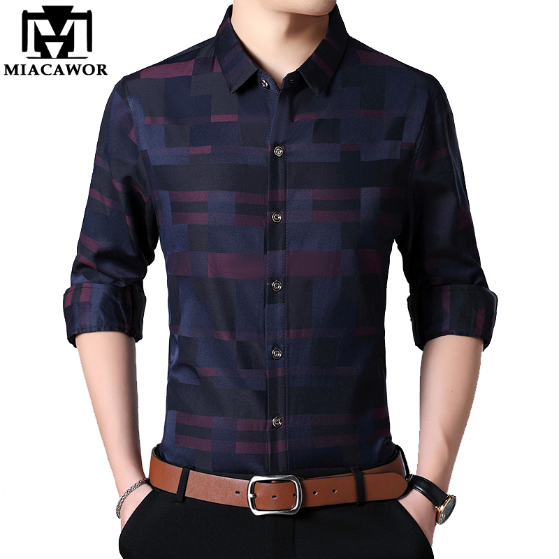 MIACAWOR 2019 New Spring Men Shirt Cotton Business Casual Shirts Men Slim Fit Dress Shirt Long Sleeve Camisa Masculina C449