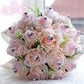 Caliente Romántico Rosa Ramo de Novia Throw Con Cristal de Lujo Elegante Cinta De Seda Ramo De La Boda Decoración de La Boda En Stock WF016