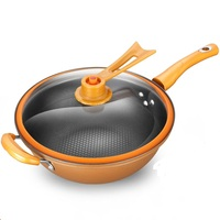 A 32cm Iron Frying Pan Heat preserve Vacuum Pot Boiling Cease fire Health Preservation Pan Cooking Wok Pan With Upright Lid