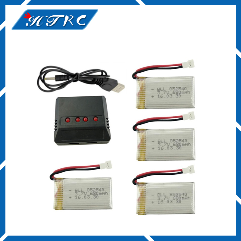 Syma X5C X5SW Parts 3.7 V 680 mAh Upgrade Battery & 4 In 1 X4 Lipo Battery USB Charger Spare Parts for Syma RC Drone vho power syma x8w rc drone lipo battery 5pcs 2s 7 4v 2500mah and eu charger for syma x8c x8w x8g x8hg rc helicopter spare parts