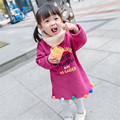 Rápida de Alta Calidad Ropa de Los Niños 2016 de Moda de Corea Casual Algodón Lindo Carta Sudaderas de Lana Niñas Ropa de Otoño y Primavera