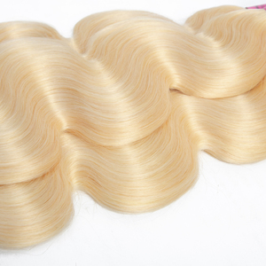 Image 4 - Queenlike Color 613 Brazilian Body Wave Remy Human Hair Bundles With Frontal Light Honey Blonde Bundles With Closure