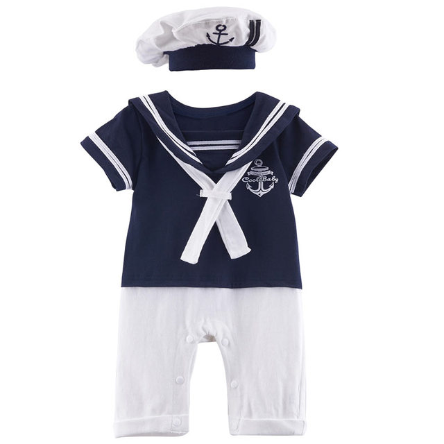 a0606bb4f44ae Newborn Baby Boy Sailor Costume Romper with Hat Set Infant Party Cosplay  Playsuit Jumpsuit Clothes