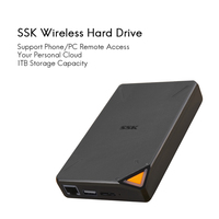 SSK נייד אלחוטי חיצוני קשה כונן קשיח דיסק חכם כונן קשיח 1TB ענן אחסון WiFi מרחוק גישה HDD מקרה מארז