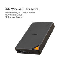 SSK Portable Wireless External Hard Drive Hard Disk Smart Hard Drive 1TB Cloud Storage 2.4GHz WiFi Remote Access HDD SSM F200