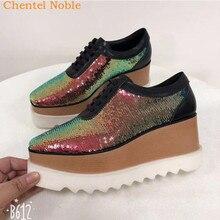 04cd0f7e6 Elyse Couro macio Plataforma Cunha Mulheres Sapatos Oxford Lace Up Sapatos  de Couro Superior de Alta