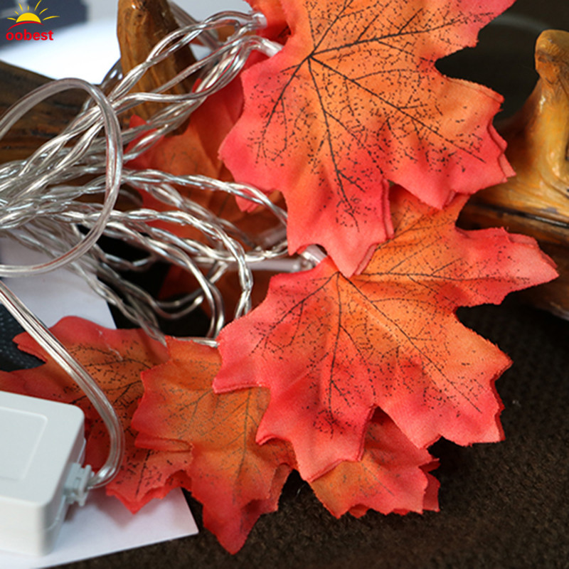 Chrismas Autumn Leaf Fairy LED String Light Battery 2 Modes Operated Fall Leaves Lamp Garland Decoration