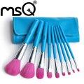 Msq 9 pcs de alta qualidade profissional cabelo sintético makeup brush set com capa de couro azul pu