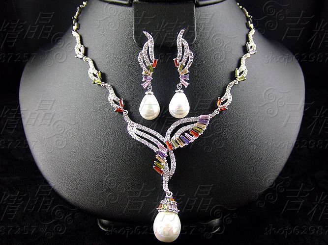 2018 NEW Fashion Classical colorful zircon crystal shell pearl necklace earring sets wedding bridal banquet formal dress jewelry classical malachite green round shell simulated pearl abacus crystal 7 rows necklace earrings women ceremony jewelry set b1303