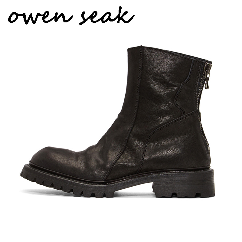 Owen Seak Men Ankle Boots High Luxury Trainers Genuine Leather Riding Winter Snow Boots Casual Zip
