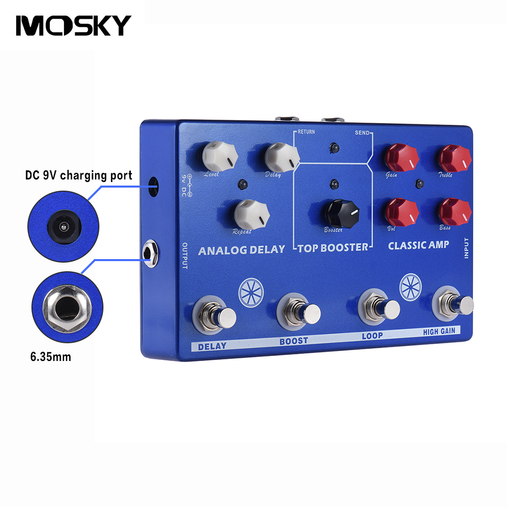 где купить MOSKY Multi-Effects 4-in-1 TONE MAKESTATON Guitar Effect Pedal Classsic AMP Top Booster Analog Delay Fx Loop EQ True Bypass по лучшей цене