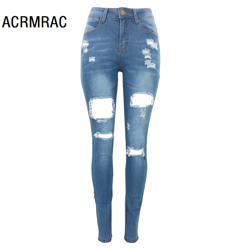 Women Jeans Slim Mid Waist Summer Hole Pencil Pants Sexy Skinny Jeans Woman 235