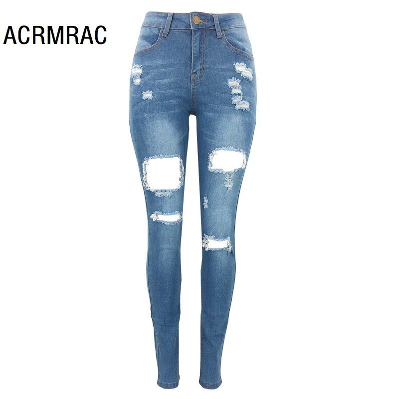 Women Jeans Slim Mid Waist Summer Hole Pencil Pants Sexy Skinny Jeans Woman 235