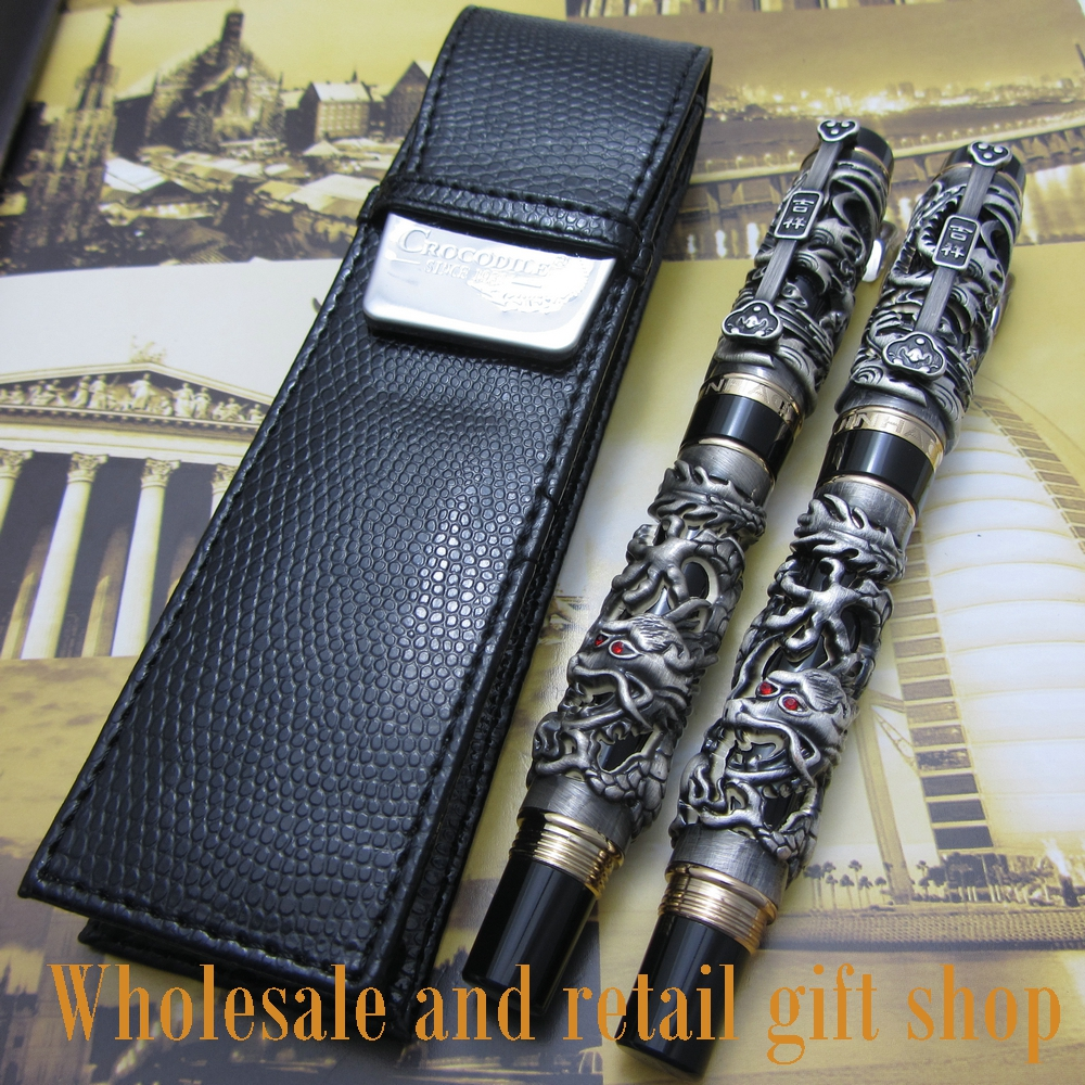 2pcs pen Jinhao Dragon Phoenix Heavy gray Chinese Classical Luck Clip and pen bag free shipping advanced roller ball pen jinhao chinese dragon bronze white with black heavy gife pen