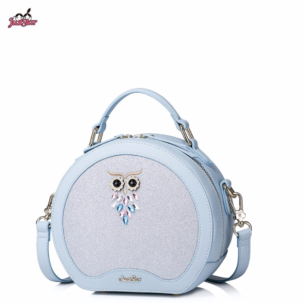 2017 New Just Star Brand Design Owl Rinestone Embroidery PU Leather Women Lady Handbag Shoulder Bags For Girls