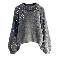 2017women gray knitted bohemia vintae sweater ladies lantern long sleeve loose pearl decoration sweater short style pullovers
