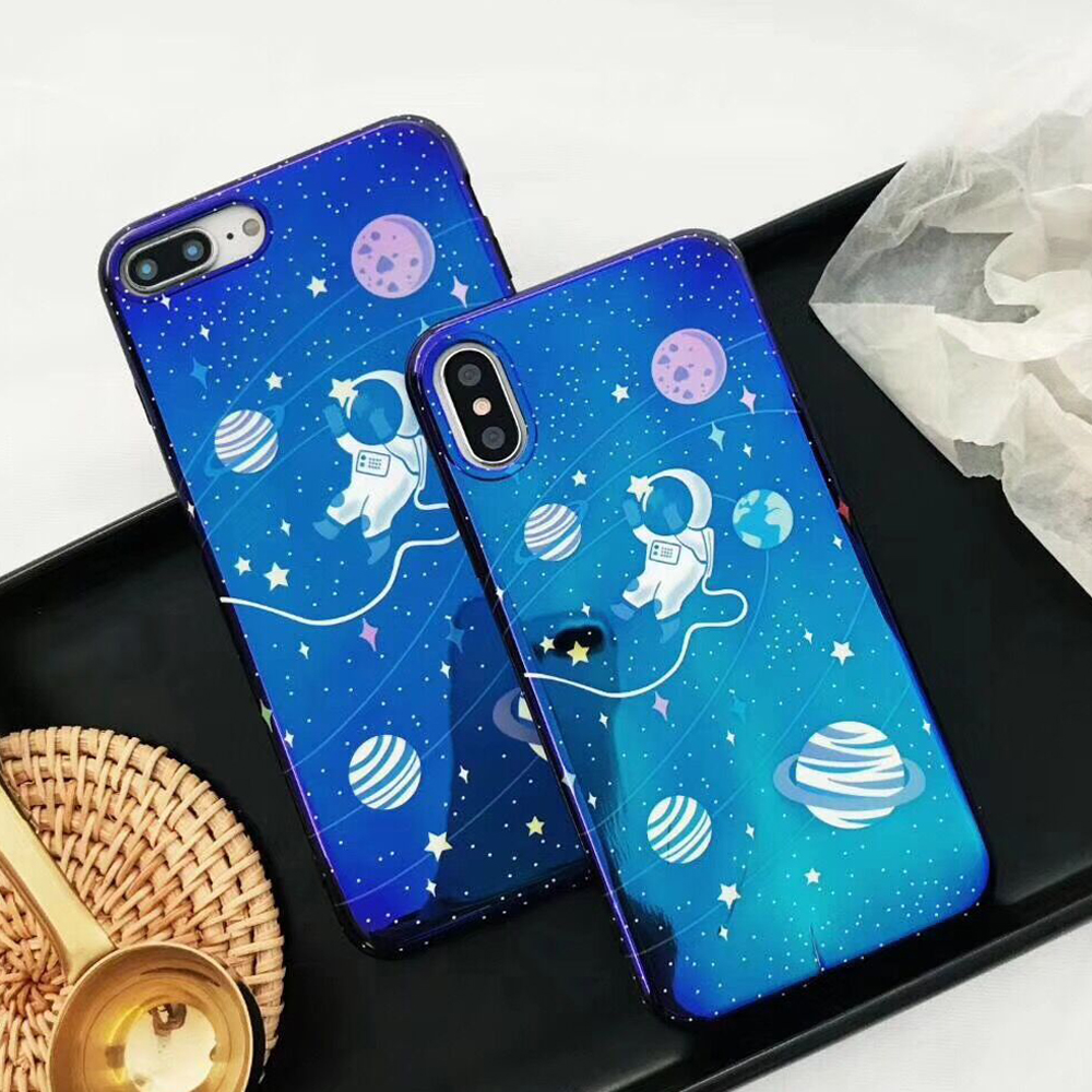 Cool Universe Planet Phone Case Smooth Blu-Ray Astronaut Soft IMD Phone Back Cover Case