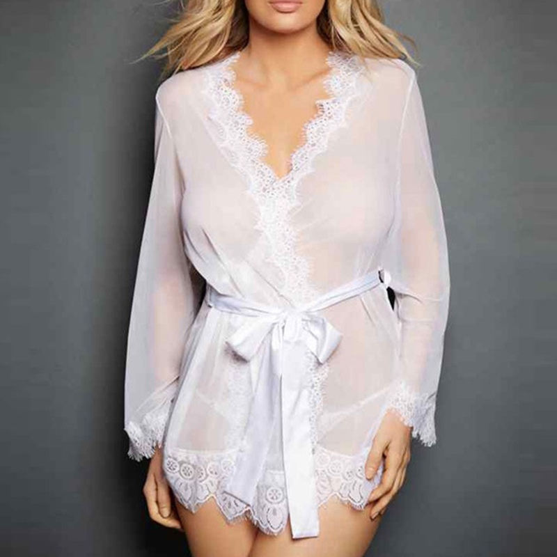 Women\'S Sleepwear Set Eyelash Lace Robe Sexy Lingerie Sheer Mesh Kimono Nightgown