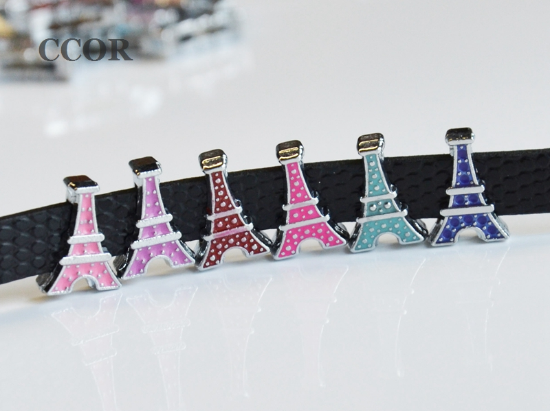 50PCS 8MM 9mm*13mm Enamel Eiffel Tower Slide Charms Letters Finding Jewelries Fit 8mm Belts Bracelets Collar Chamrs, CD0168