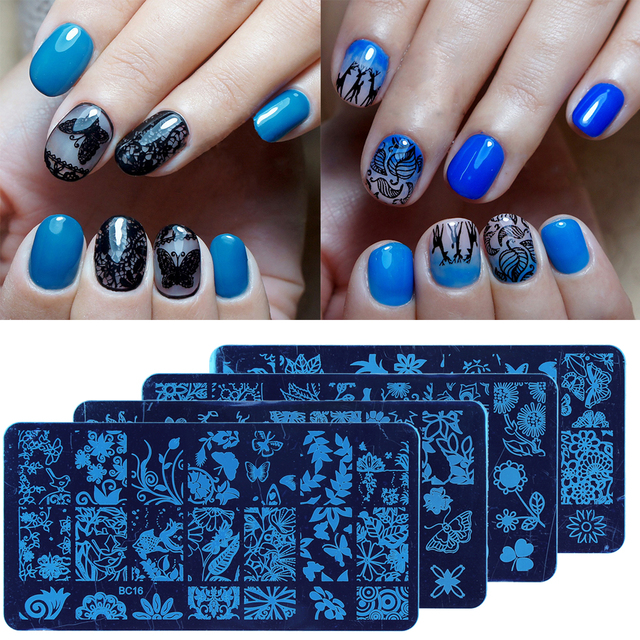 nagel stanzen platten spitze muster edelstahl nagel kunst platten nagellack drucken vorlage diy schablonen - Muster Fur Nagel