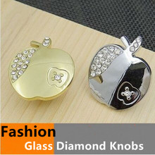 modern fashion glass diamond furniture knobs glass crystal apple drawer cabinet knobs silver gold carttoon pulls dresser handle
