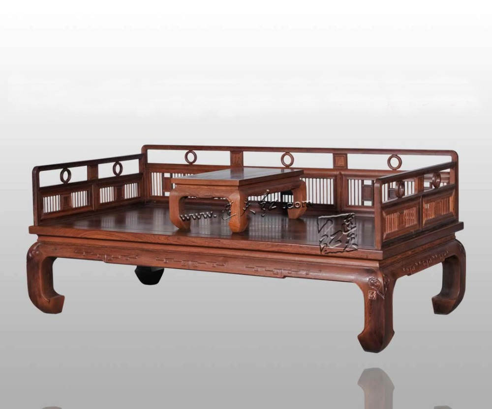 Hotel Mahogany Furniture Burma Rosewood double sofa new Chinese Zen Single Arhat Bed Living Room Solid Wood Beauty Couch Chair stools with chi design living room low console table burma rosewood chinese classical antique furniture solid wood square bench