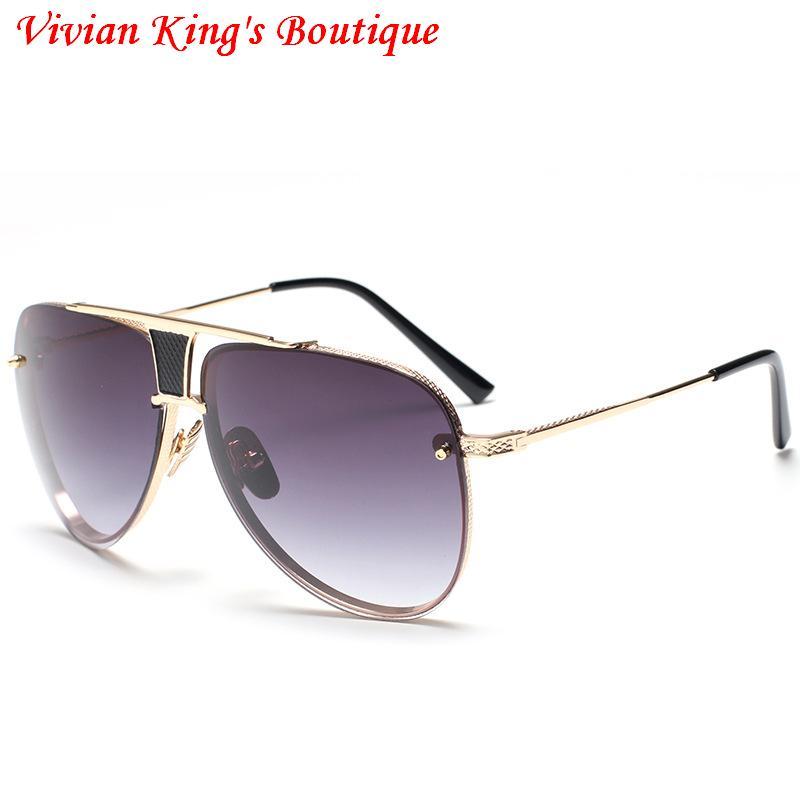 IMAKEFASHION Surdimensionné Classique Pilote lunettes de Soleil pour Hommes  et Femmes Sans Monture Nuances de Haute Qualité Anti UV400 JWW148 c96b17c0fa50