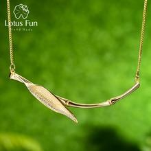 لوتس متعة ريال 925 فضة مصمم الأصلي غرامة مجوهرات صباح الندى على أوراق خيزران قلادة قلادة للنساء