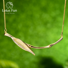 Lotus Fun Real 925 Sterling Silver Designer Original Fine Jewelry Morning Dew on Bamboo Leaf Pendant Necklace for Women