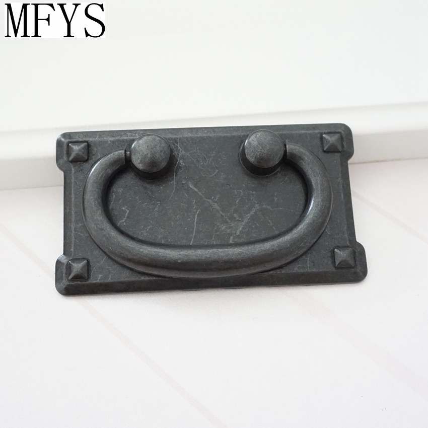 2 2 quot 3 quot Vintage style Dresser Drawer Pull Handles Antique Black Square Door Cabinet Handles Pull Drop Bail Back Plate 57 76 mm in Cabinet Pulls from Home Improvement