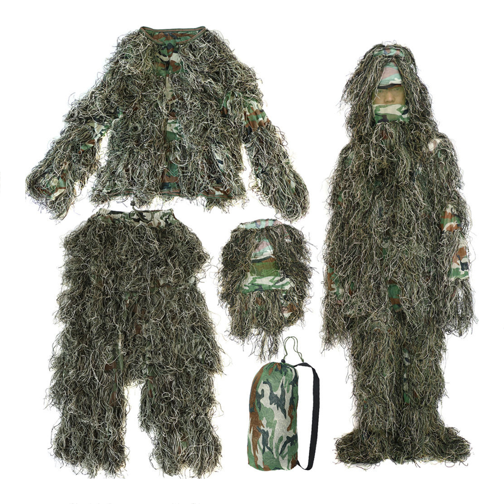 SEWS-5 pieces New Ghillie Suit Camo Woodland Camouflage Forest Hunting 3D 5 pieces new ghillie suit camo woodland camouflage forest hunting 3d