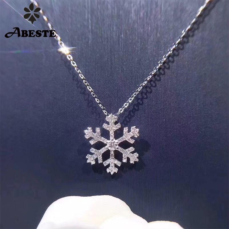 العاني 18 K روز الذهب (AU750) الزفاف الثلوج شكل قلادة 0.25 ct I J/سي شهادة الحقيقي الطبيعي الماس المرأة الذهب سلسلة قلادة-في المعلقات من الإكسسوارات والجواهر على  مجموعة 1