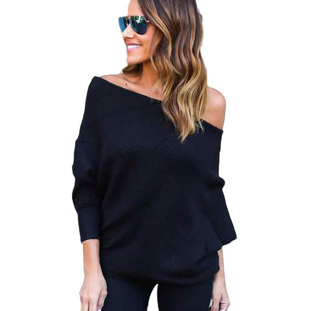 Feitong Off The Shoulder Tops For Women Bat Sleeve Casual Loose Cotton Strapless T-shirt Camiseta Femenina Tee Shirt Femme #2
