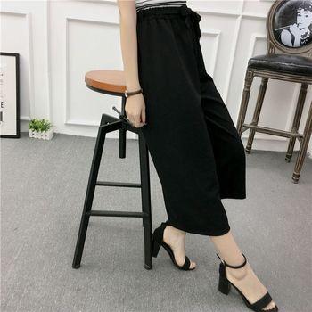ETOSELL Women New Summer Wide Leg Pants Casual Loose High Elastic Waist Harem Pants Loose Belt Striped Elasticated Trousers 4